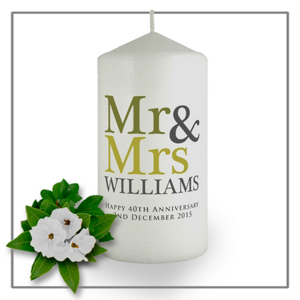 Mr & Mrs candle favors