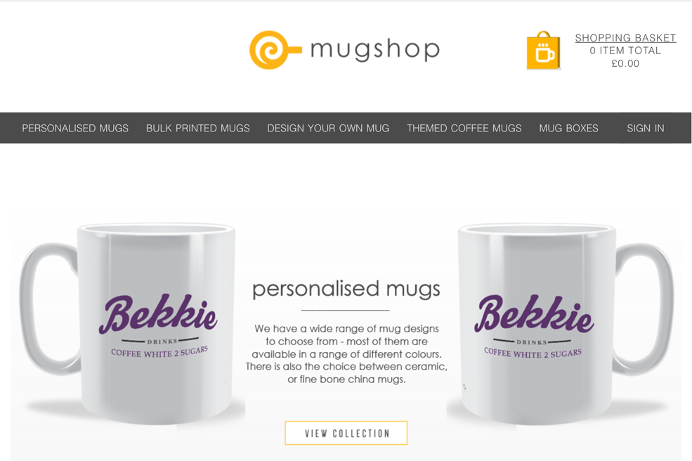 mug shop website has had a facelify