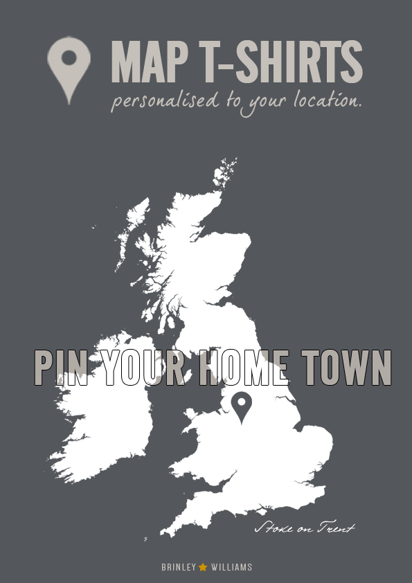 personalised map t-shirt UK -pin your home town