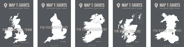 map t-shirts design options