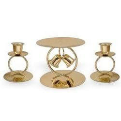 Chapel Bells Unity Candle Set in Brass