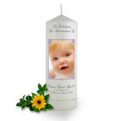 Personalised Art Nouveau Photo Frame Christening Candle