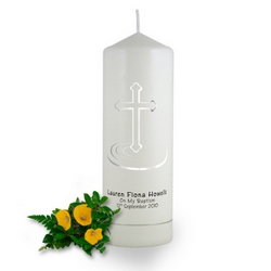 Personalised Ripple Cross Christening Candle