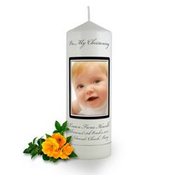 Personalised Rounded Photo Frame Christening Candle