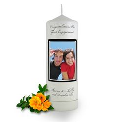 Personalised Rounded Photo Frame Engagement Candle