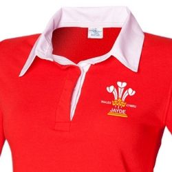 Ladies Personalised 3 Feathers Welsh rugby shirt
