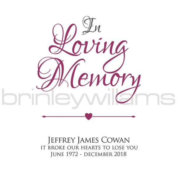New Personalised In Loving Memory Memorial Candle | Brinley Williams DE15
