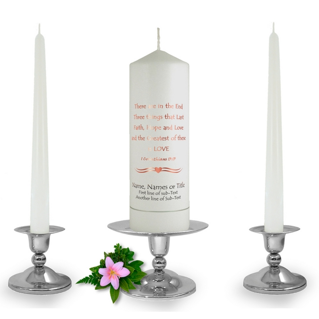 corinthians personalised wedding unity candle from celtmyth