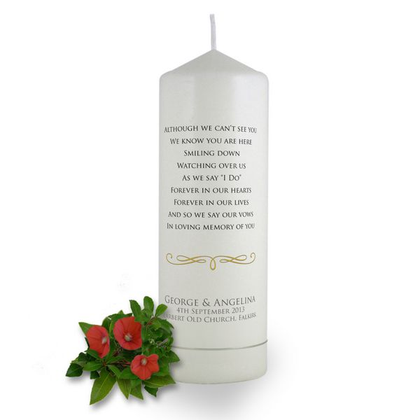 personalised absence verse wedding candle brinley williams