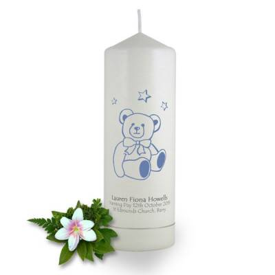 Personalised Teddy Bear Naming Day Candle
