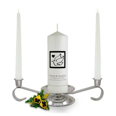Personalised Dove Heart Unity Candle Set