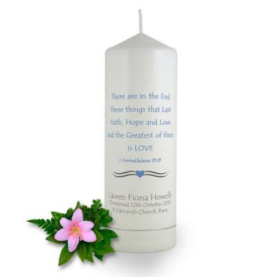 Personalised 1 Corinthians Christening Candle