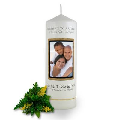 Personalised Wooden Photo Frame Christmas Candle