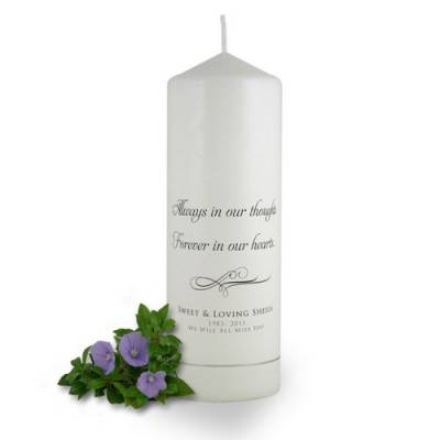 Personalised Always in our Thoughts Memorial Candle