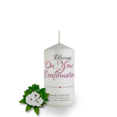 Personalised Blessings On Your Confirmation Favour Candle