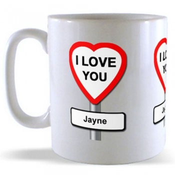 Personalised I Love you - Road Sign Mug