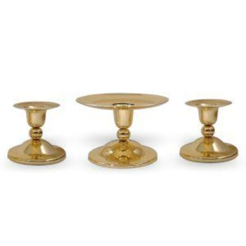 Traditional Unity Candle Set in Brass