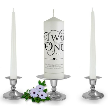 Personalised Two become One Unity Candle Set