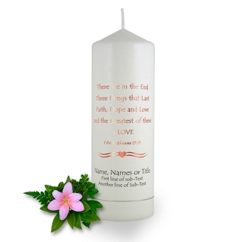 Personalised 1 Corinthians Wedding Candle