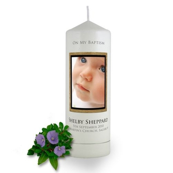 Personalised Wooden Photo Frame Baptism Candle