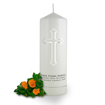 Personalised Holy Cross Baptism Candle