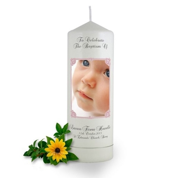 Personalised Art Nouveau Photo Frame Baptism Candle