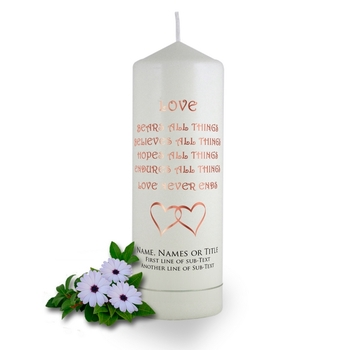 Personalised Love Bears All Things Baptismal Candle