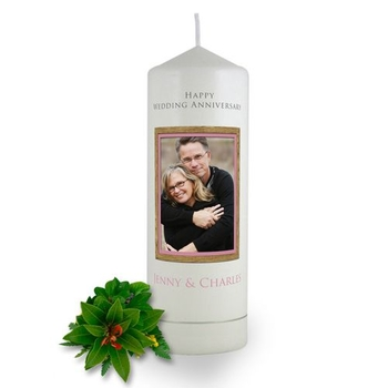 Personalised Wooden Photo Frame Anniversary Candle