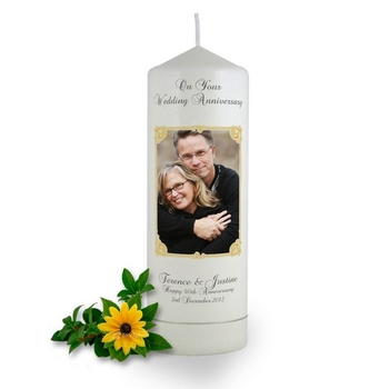 Personalised Art Nouveau Photo Frame Anniversary Candle