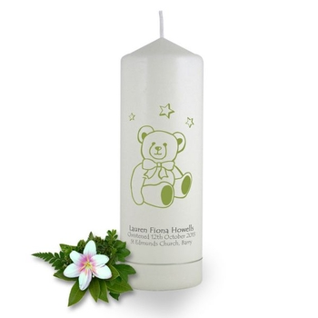 Personalised Teddy Bear Christening Candle