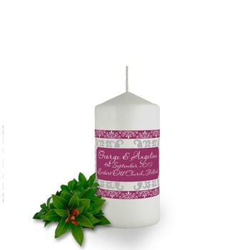 Personalised Damask Candle Favour