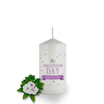 Personalised Confetti Christening Candle Favour