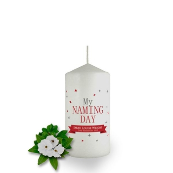Personalised Confetti Naming Day Candle Favor