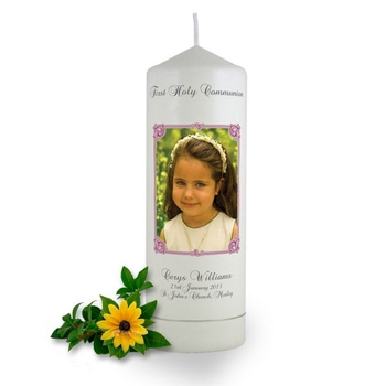 Personalised Art Nouveau Photo Frame Communion Candle