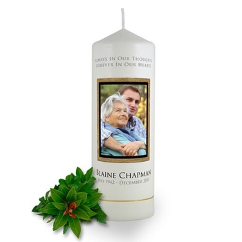 Personalised Wooden Photo Frame Memorial Candle