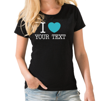 Personalised  I Love Womens T shirt