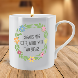 Personalised Floral Wreath scented Candle Mug