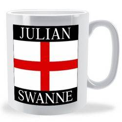 Personalised Firstname Surname English Flag Mug