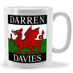 Personalised Firstname Surname Welsh Flag Mug