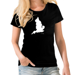 England Personalised Pin Womens Map T shirt