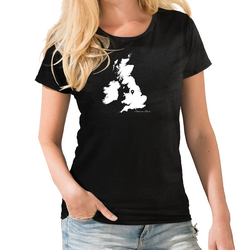 UK Personalised Pin Womens Map T shirt