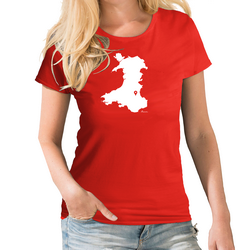 Wales Personalised Pin Womens Map T shirt