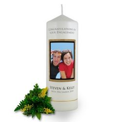 Personalised Wooden Photo Frame Engagement Candle