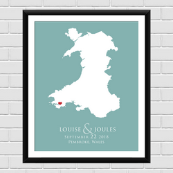 Map of Wales Personalised Wedding print