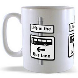Bus Lane - Road Sign Mug