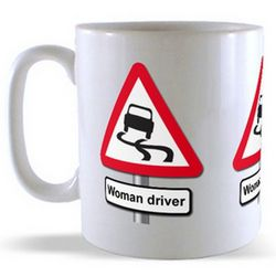 Woman Driver - Road Sign Mug