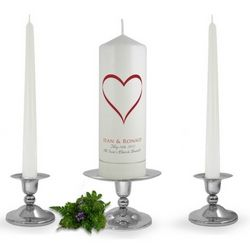 Personalised Love Heart Unity Candle Set